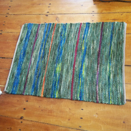 Hand woven alpaca rug from Snowshoe Farm